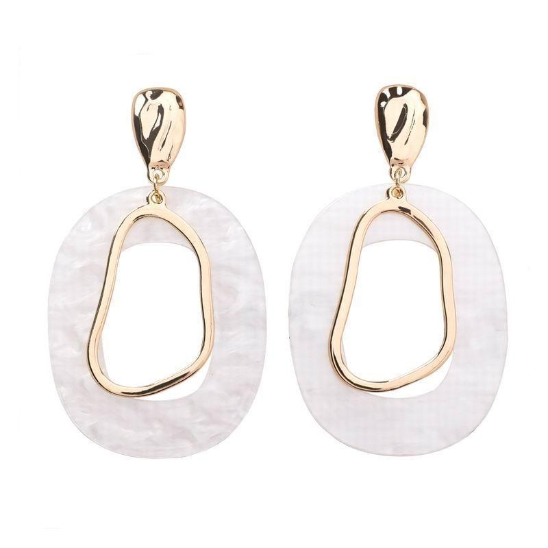 'BLANCA' White Acrylic Geometric Drop Earrings