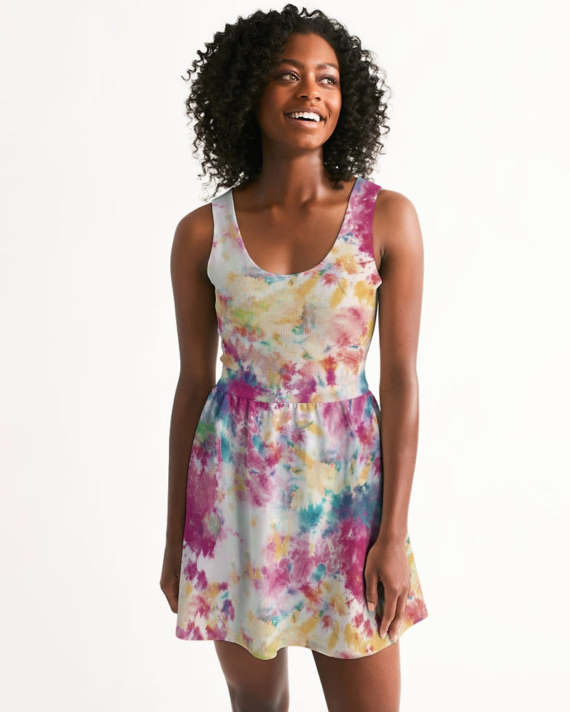 Multicolor Tie Dye Women's Scoop Neck Skater Dress