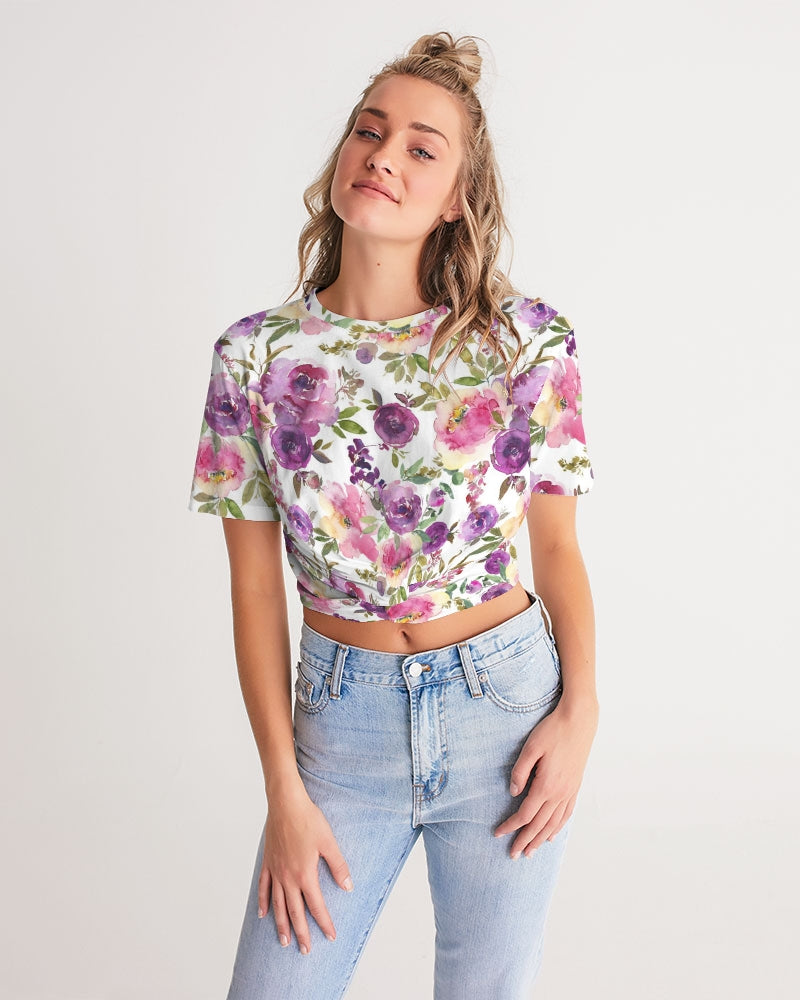 Bright Floral Women's Twist-Front Cropped Tee