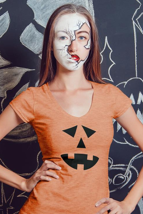 Ladies' short sleeve t-shirt - Halloween Jack O'Lantern Pumpkin Tee