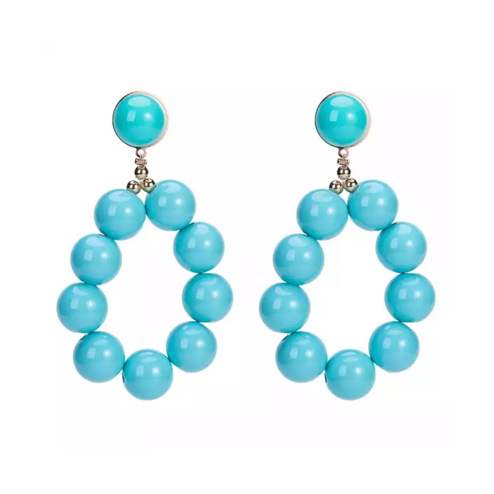 'LYRA' Aqua Blue Ball Statement Earrings
