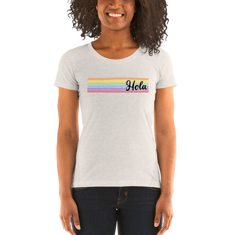 "Ladies' short sleeve t-shirt - Rainbow ""HOLA"" Spanish Vintage Style Tee"