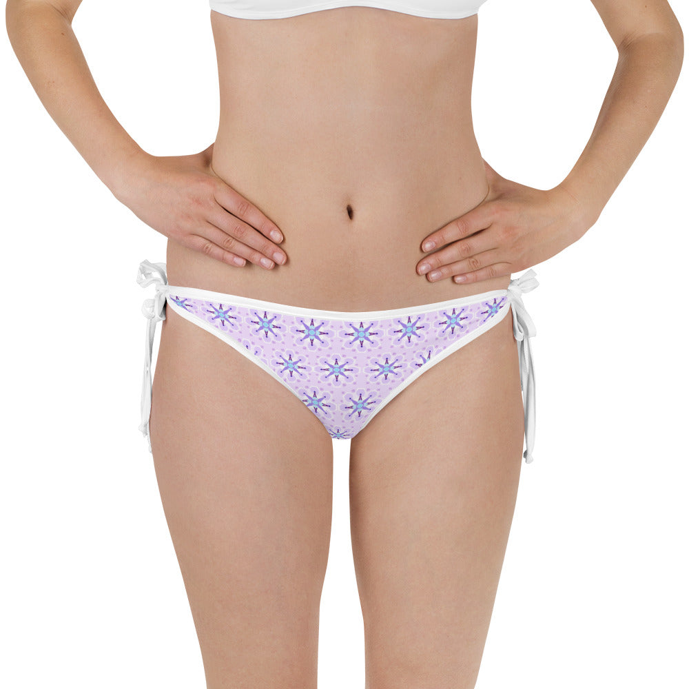 Side-Tie Bikini Bottom - Tahitian Dream - Purple Geometric Print