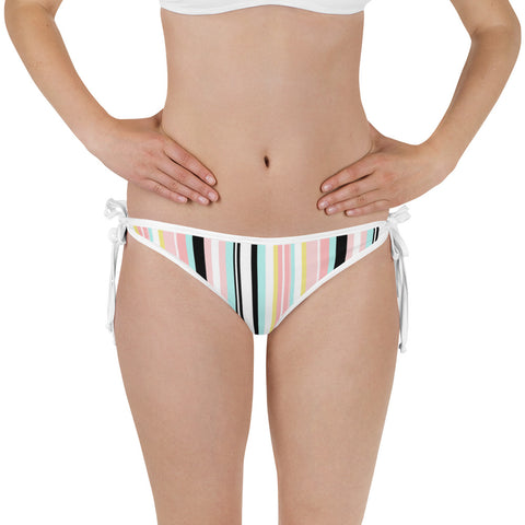 Side-Tie Bikini Bottom - Electric Jungle - Striped Print