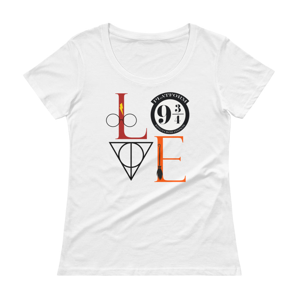"Harry Potter Inspired ""LOVE"" Tee - Ladies Sheer Scoopneck T-Shirt with Tear Away Label"