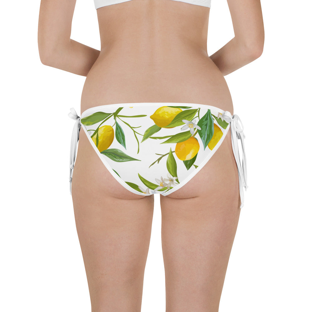 Side-Tie Bikini Bottom - Italian Summer - Lemon Print