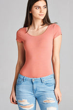Cap Sleeve Bodysuit - Peach