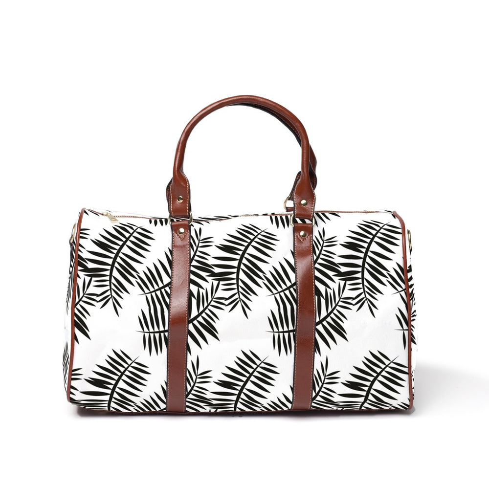 Large Weekender Bag - Black & White Palm Print