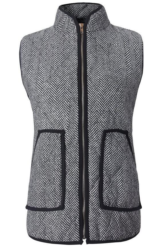 'Ashley' Herringbone Puffer Vest