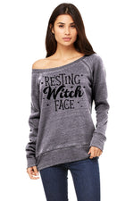 Slouchy Wide-Neck Sweatshirt - Resting Witch Face