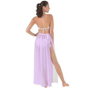 Tie-Waist Chiffon Sarong Cover Up - Purple