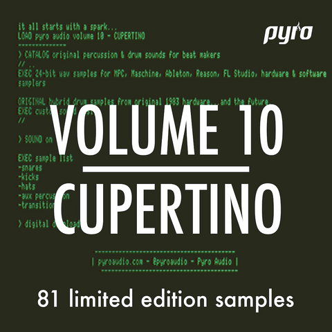 Pyro Audio Volume 10 Cupertino - Drum Samples for MPC, Maschine, Ableton Live, FL Studio, Reason - Sampled from the Apple IIC