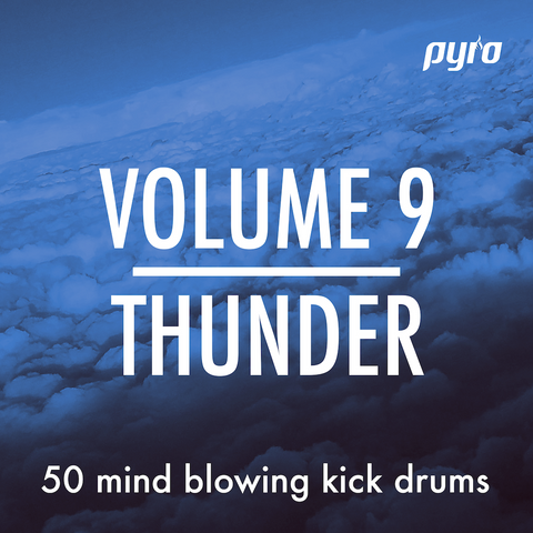 "Kick Drums for MPC, Maschine, FL Studio, ableton, Reason and more. Pyro Audio Sound Pack Volume 9 ""THUNDER"". 50 all-new kick drums, custom designed for music producers who need inspiring sounds."
