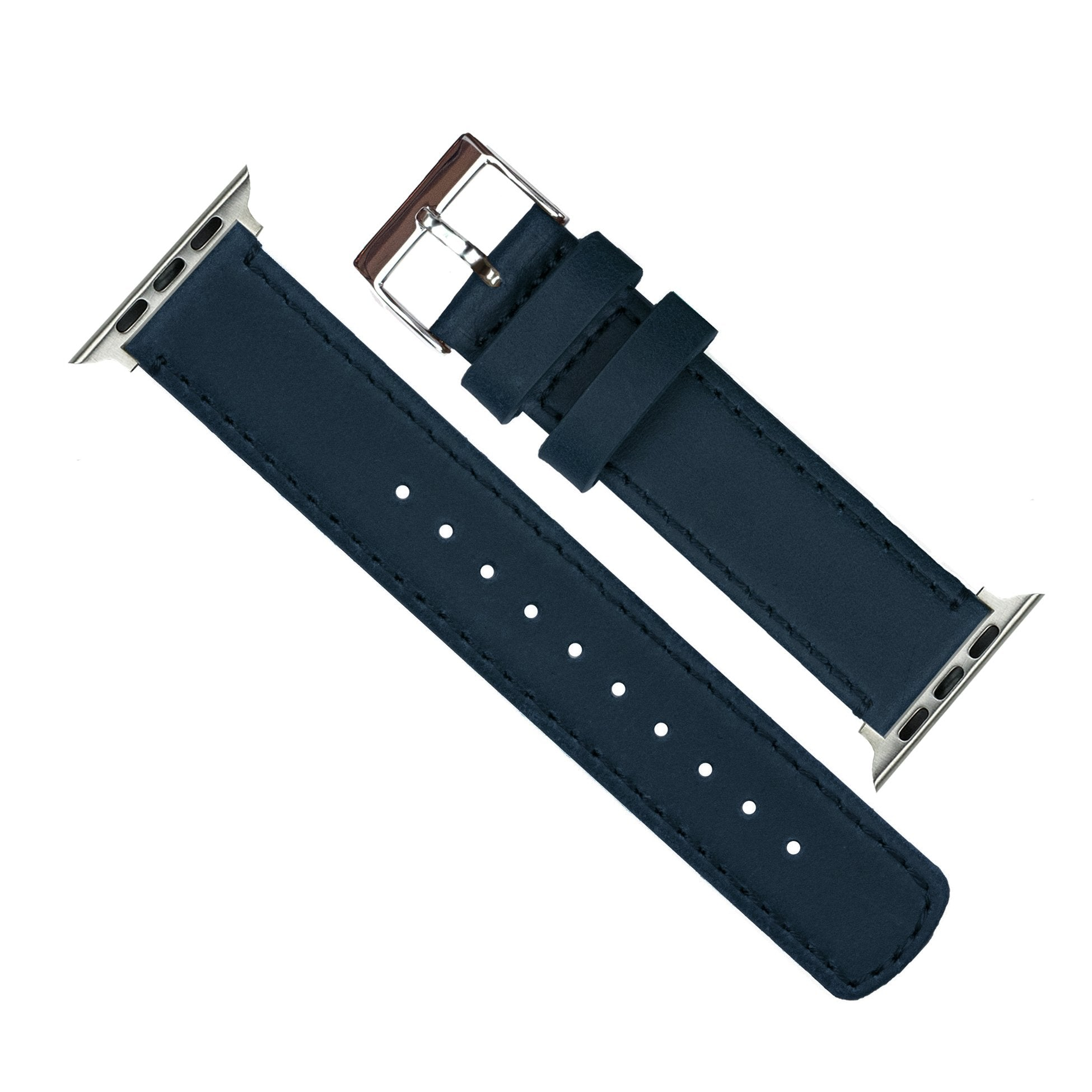 Barton Leather Watch Bands Compatible with All Apple Watch Models -  Leather & Linen White Stitching