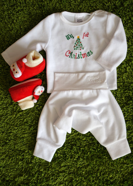 BABY OUTFIT: My 1st Christmas! 3 pieces: Shirt, Pants, Slippers