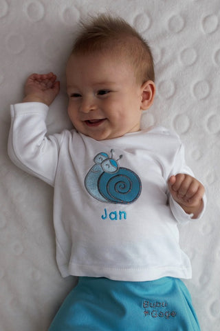 BABY OUTFIT: Turquoise SNAIL. BABY NAME SHIRT!