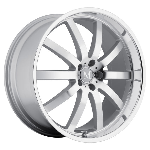 MANDRUS WILHELM 22x10.5 5/112 ET42 CB66.56 SILVER W/MIRROR CUT FACE AND LIP (2205MAW425112S66)