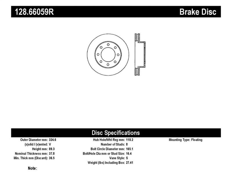 StopTech Drilled Sport Brake Rotor (128.66059R)