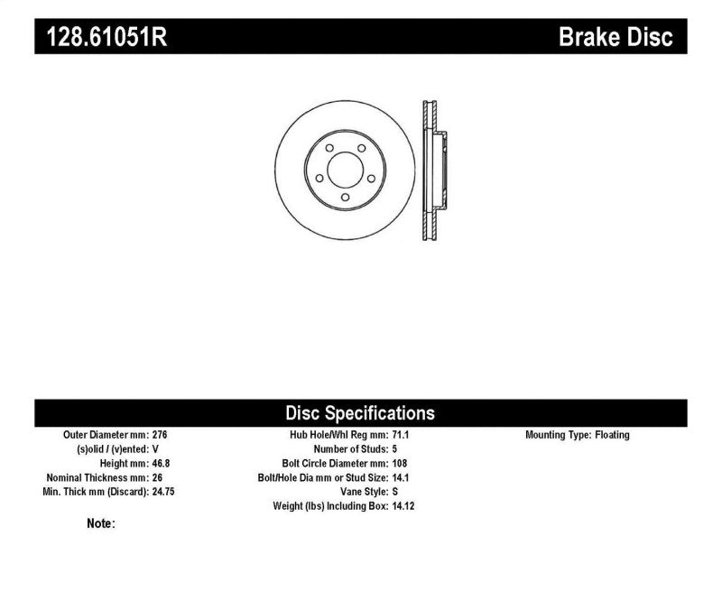 StopTech Drilled Sport Brake Rotor (128.61051R)