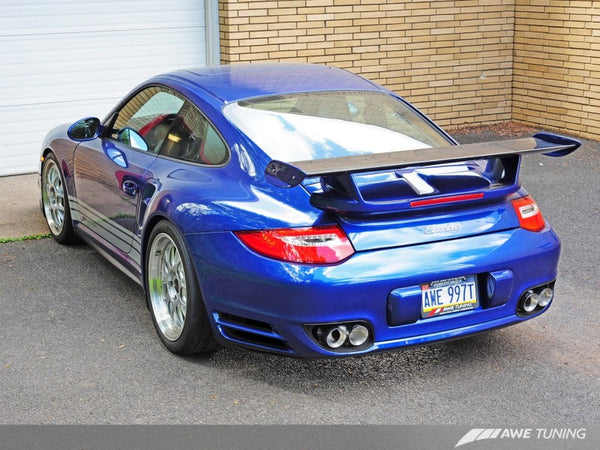 AWE Tuning Porsche 997.2TT Performance Exhaust Solution - Polished Silver Quad Tips (3010-42012)