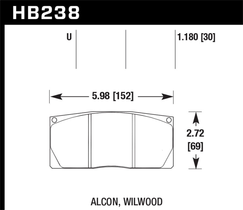 Hawk Performance K DTC-70 Brake Pad Sets (hawkHB238U1.18)