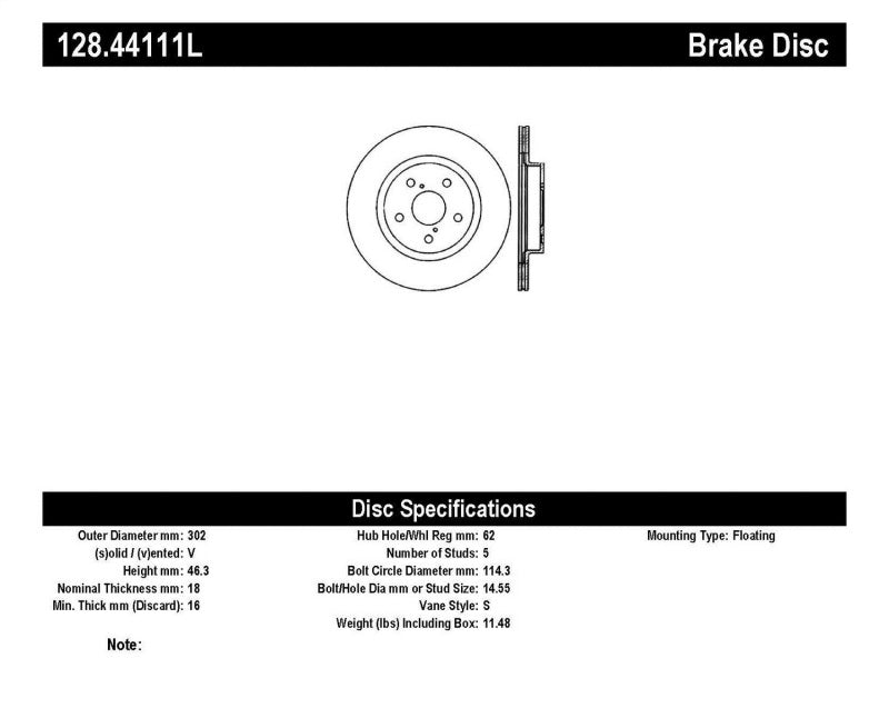 StopTech Drilled Sport Brake Rotor (128.44111L)