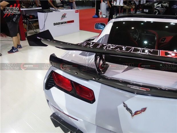 BKSS Style Carbon Fiber Rear Trunk Spoiler Wing For Corvette C7 Stingray Z51 Z06