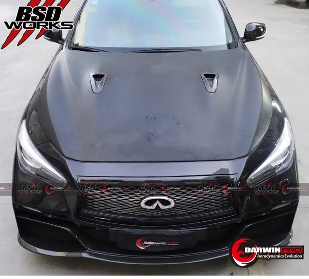DarwinPRO Q50 Sedan EAU Rouge Style Hood W/ Carbon Fiber Vents Body Kit