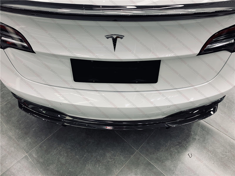 DarwinPRO IMP Style Carbon Fiber Rear Bumper Diffuser For Tesla Model 3