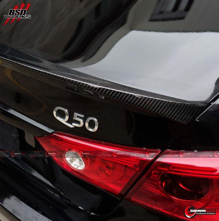 Darwin Pro - 2014-2016 Q50 Sedan 4DR DP Style Carbon Fiber Rear Trunk Spoiler Body Kit