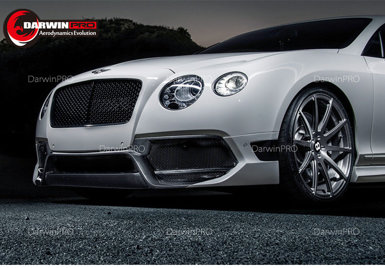 Darwin Pro - 2012-2015 Bentley Continental GT Carbon Fiber Front Bumper Extension Addon Lip
