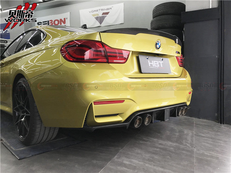 14-18 BMW F80 M3 F82 F83 M4 KNF Style Carbon Fiber Rear Diffuser w/ Brake Light