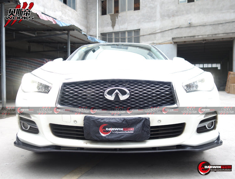 2014-2016 Q50 Non S Sedan 4DR ST Style Carbon Fiber Front Lip Spoiler Body Kit