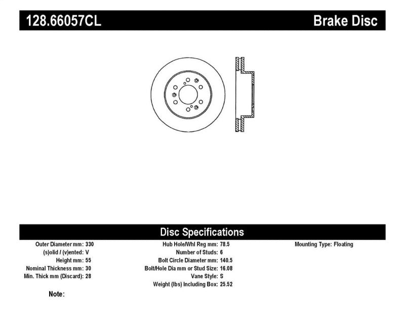 StopTech 07-11 GM Silverado 1500 Drilled Left Front Cryo Rotor (128.66057CL)