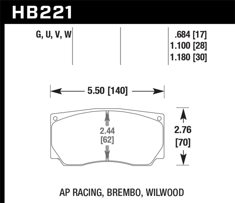 Hawk Performance K DTC-80 Brake Pad Sets (hawkHB221Q1.10)