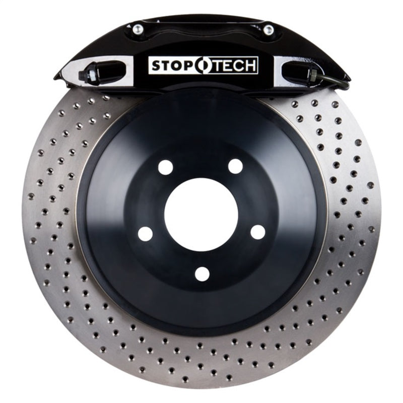 StopTech 09 Dodge Challenger R/T 350 Rear 1PC Touring BBK w/ Black ST-40 Caliper Drilled Rotors (82.241.0041.52)
