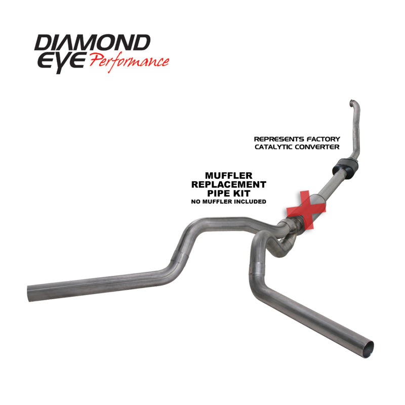 Diamond Eye KIT 4in TB MFLR RPLCMENT PIPE DUAL SS 94-97 5 7 3L F250/F350 PWRSTROKE NFS W CARB STDS (K4308S-RP)