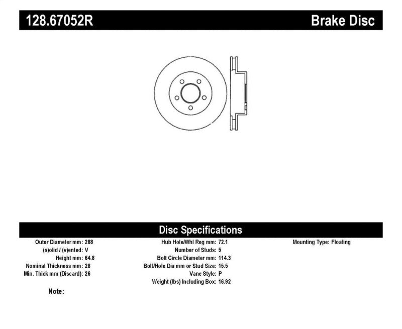 StopTech Drilled Sport Brake Rotor (128.67052R)