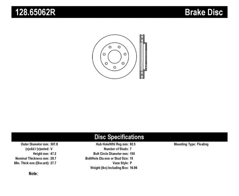 StopTech Drilled Sport Brake Rotor (128.65062R)
