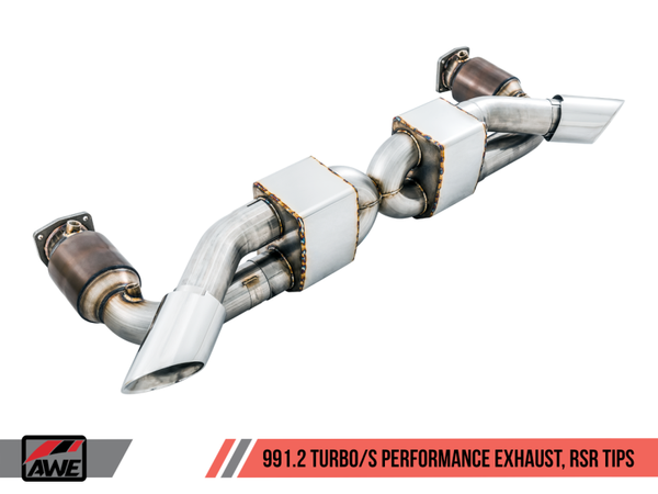 AWE Tuning Porsche 991.1 / 991.2 Turbo Performance Exhaust and High-Flow Cats - Silver RSR Tips (3015-32042)