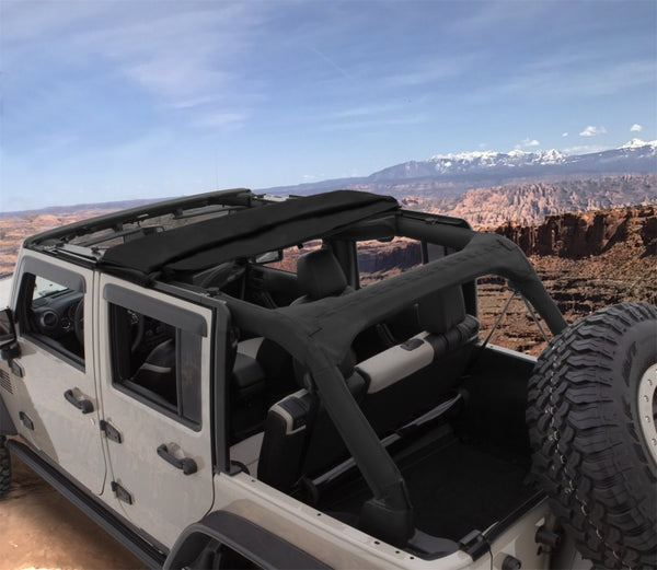 Bushwacker 07-18 Jeep Wrangler Unlimited 4-Door Trail Armor Twill Flat Back Soft Top - Black (15225)