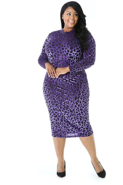 Purple Leopard Mesh Dress (Plus)