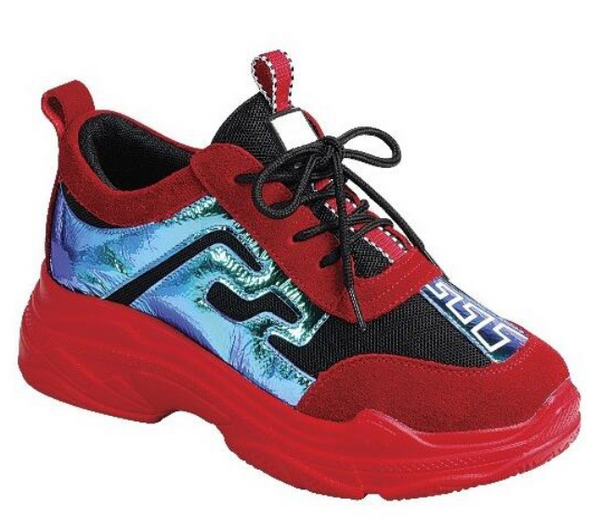 Red Tidal Wave Sneakers