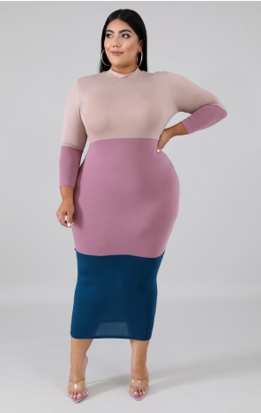 Color Block Dress (Plus)