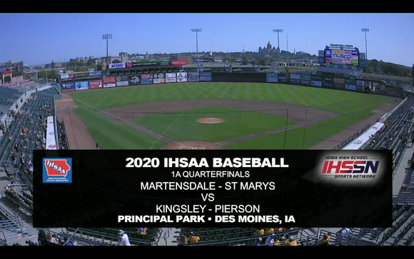 2020 Baseball Class 1A Quarterfinal (Martensdale, St. Marys vs. Kingsley-Pierson) Digital Download