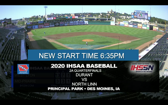 2020 Baseball Class 2A Quarterfinal (North Linn, Troy Mills vs. Durant) Digital Download