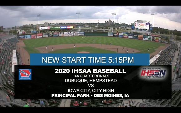 2020 Baseball Class 4A Quarterfinal (Dubuque, Hempstead vs. Iowa City, City High) Digital Download