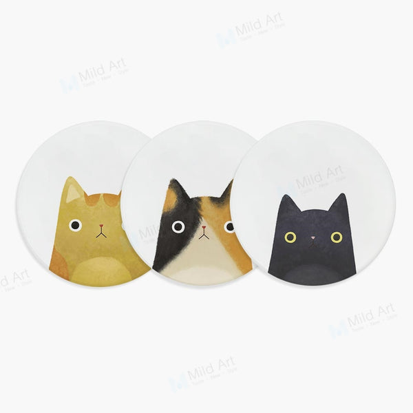 1Pc Cat Face Ceramic Coasters