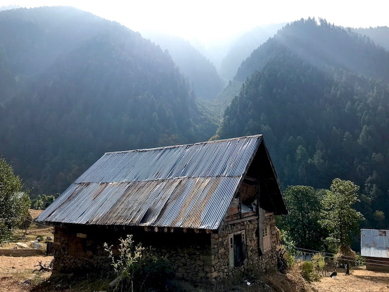 Mountain village in the Kashmiri Himalayas