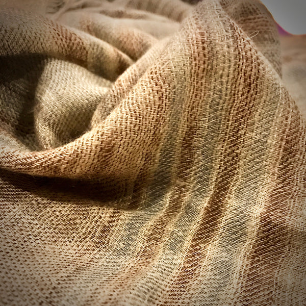 Close up view of handwoven single ply cashmere scarf natural dye | Ethical Cashmere online store